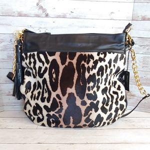 Cavalcanti Italian leather & leapard calfhair bag